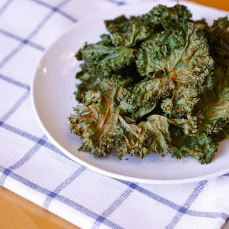 Spicy Cheezy Kale Chips (Nut Free, Seed Free, Oil Free)