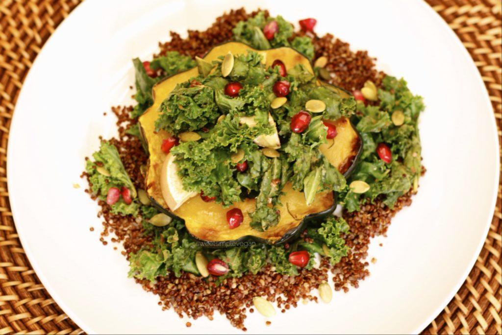 Fall Kale Salad + Raw Apple Vinaigrette (Oil Free, GF, Nut Free)