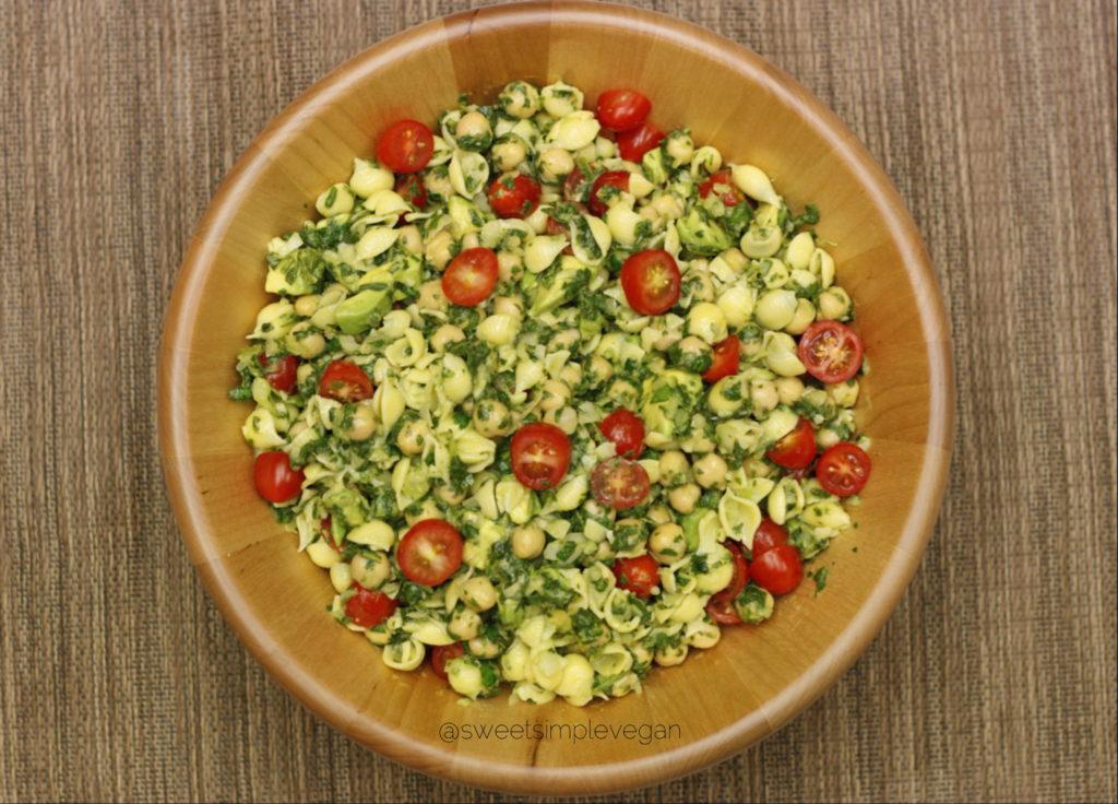 Cilantro Avocado Pasta Salad (GF, Seed Free, Nut Free) sweetsimplevegan.com