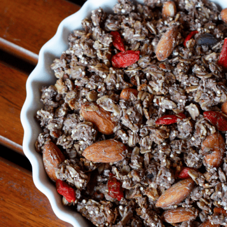 Superfood Acai Quinoa Granola (gluten- + oil-free)