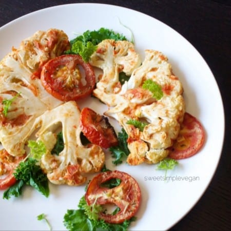 Cauliflower 'Steaks' & Oven-Roasted Tomatoes