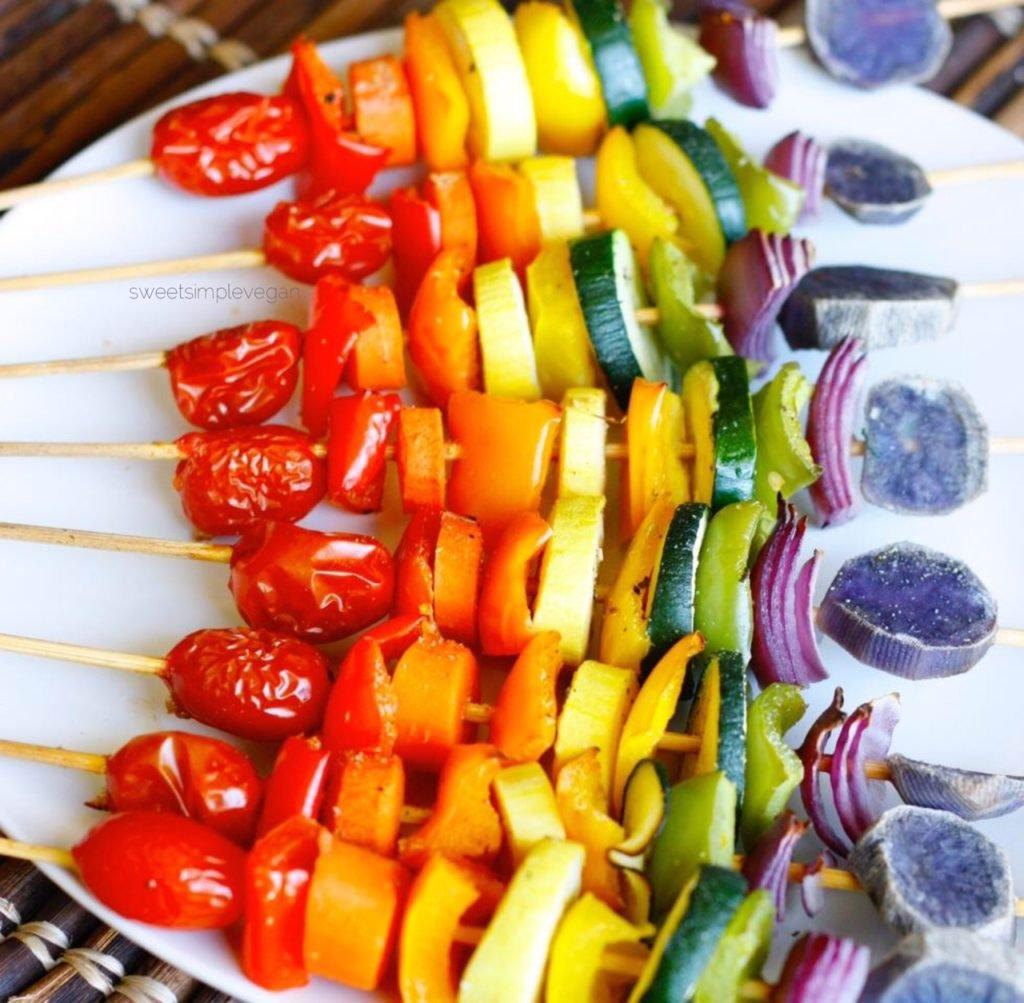 Super Bowl Appetizers Rainbow Vegetable Skewers Easy Gluten Free Oil Free