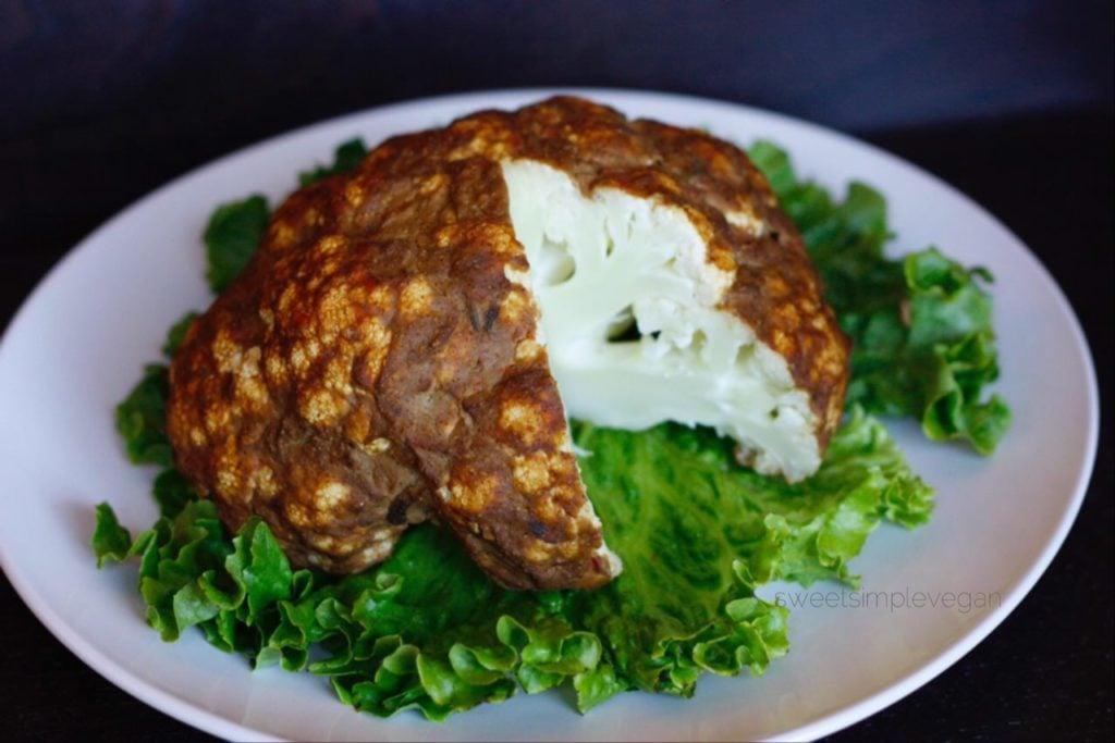 Whole Roasted Cauliflower (gf, low fat)