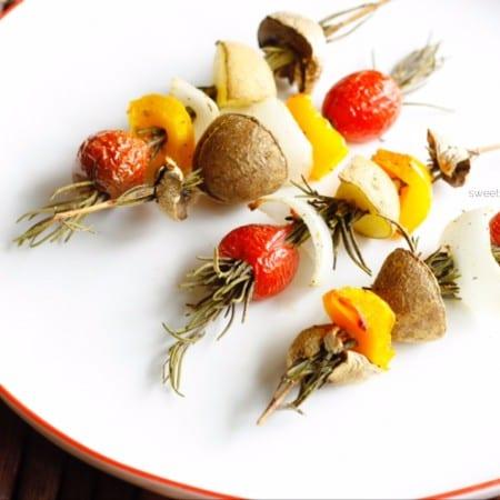 Roasted Vegetables on Rosemary Skewers