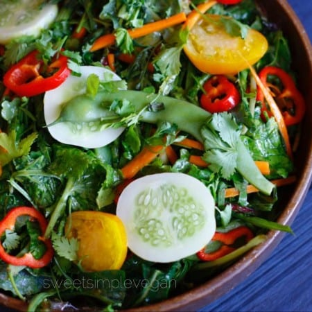 Summer Kale Salad + Ginger Mango Dressing (Raw)