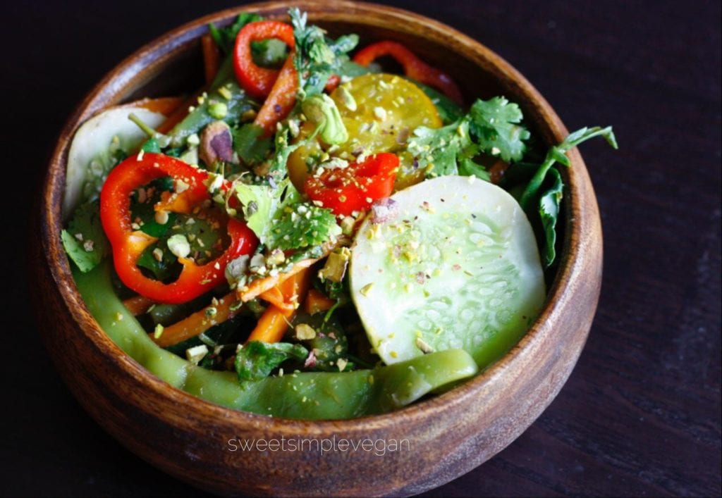 Summer Kale Salad + Ginger Mango Dressing (Raw) - Sweet ...