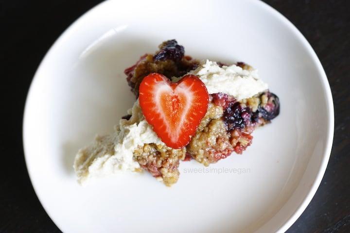 Gluten-free Triple Berry Tart & Sweet Vanilla Cashew Cream