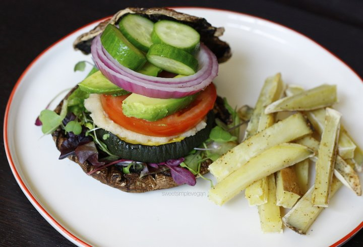 The Sweet Simple Veggie Burger & Fries (Oil-free, Salt-free)