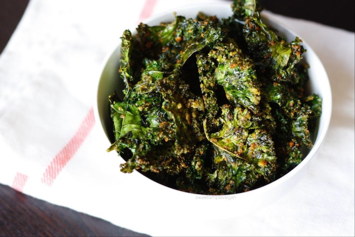 Pesto Kale Chips -- sweetsimplevegan.com