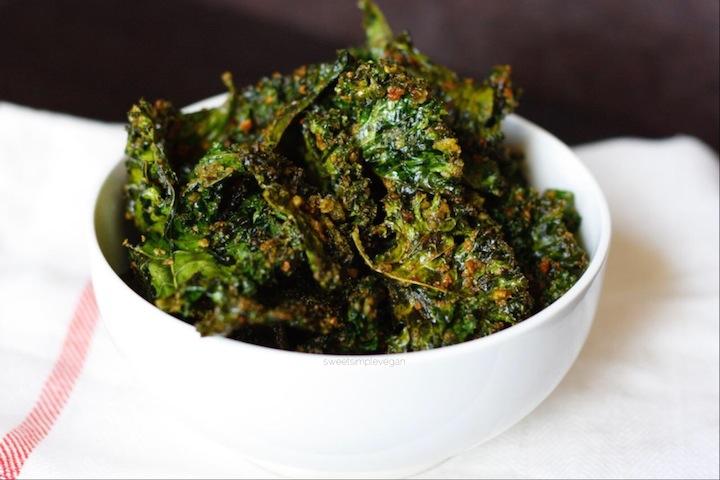 Pesto Kale Chips -- sweetsimplevegan.com