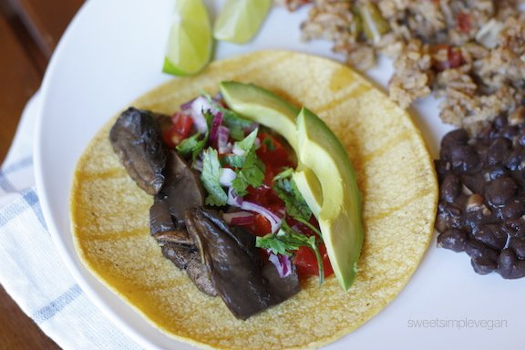 Sweet Simple Vegan: Lunch & Dinner: Portobello Asada Taco Plate