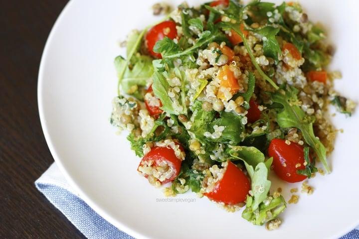 Quinoa, Lentil & Arugula Salad (Low-fat) | Vegan Mother's Day Brunch Menu & Recap 2016 | sweetsimplevegan.com