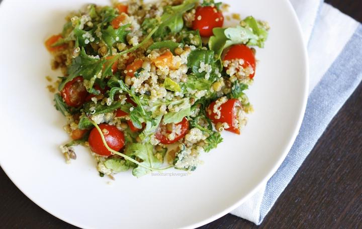 Quinoa, Lentil & Arugula Salad (Low-fat)
