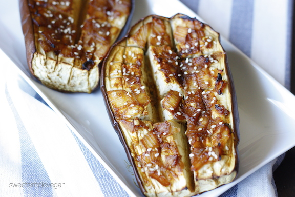 Sweet Simple Vegan: Lunch & Dinner- Miso-Glazed Eggplant