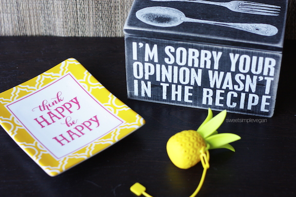 "A Healthy Vegan 21st Birthday Celebration: Recipe Box: ""Your Opinion Is Not Part Of The Recipe"" Reusable Pineapple Tea Infuser ""Think Happy, Be Happy"" Decorative Plate"