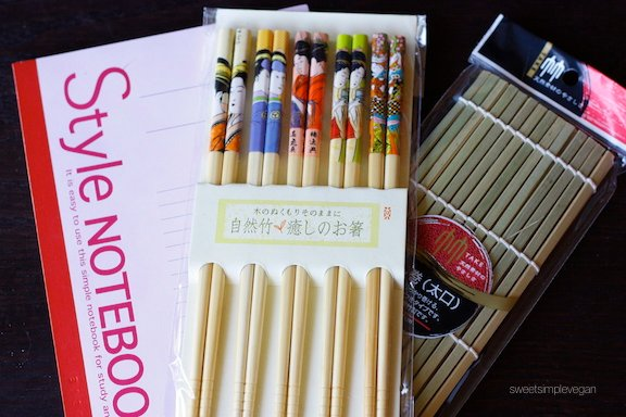 A Healthy Vegan 21st Birthday Celebration: Sushi Tool Set: Chopsticks and Roller Notebook