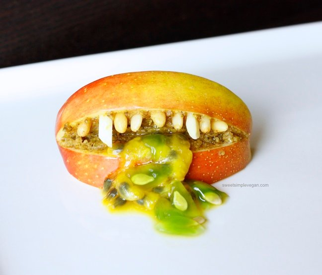 Halloween Apple Monster Mouths sweetsimplevegan.com