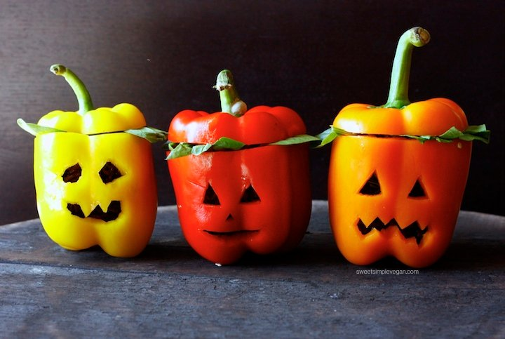 Halloween Black Rice Stuffed Jack-O-Lanters Bell Peppers