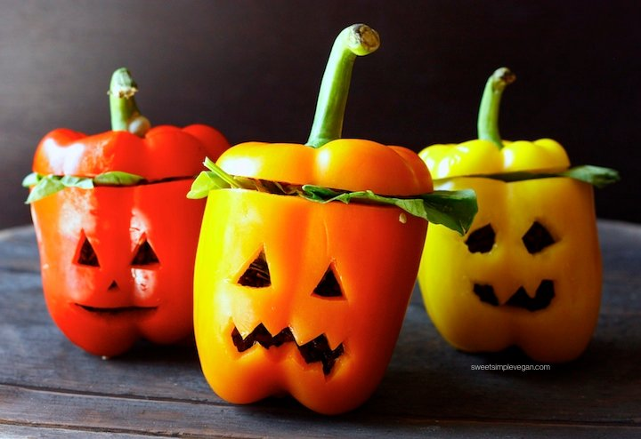 3Halloween Black Rice Stuffed Jack-O-Lanters Bell Peppers