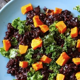Herbed Black Rice Risotto With Kale and Butternut Squash (gf, low-fat)