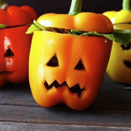 Stuffed Bell Pepper Jack-O-Lanterns (gf, low-fat)