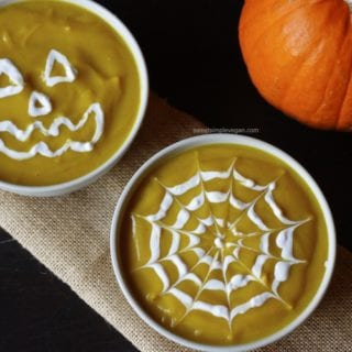 Halloween Decorated Curried Squash & Cauliflower Soup (salt- & oil-free)