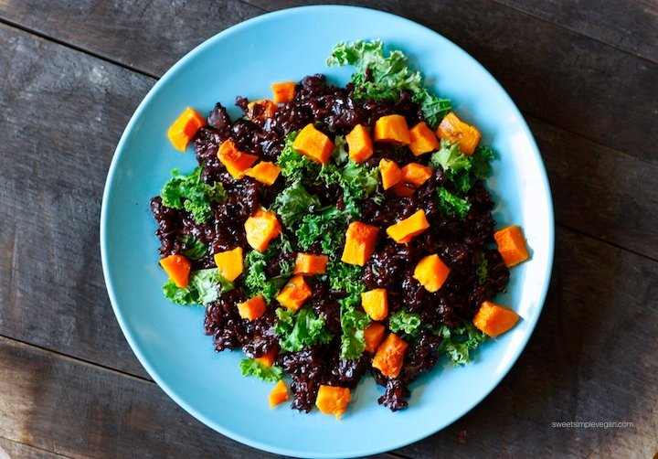 Herbed Black Rice With Kale and Butternut Squash