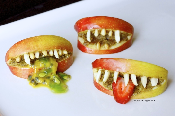 Healthy Halloween Apple Monster Mouths (gf) sweetsimplevegan.com