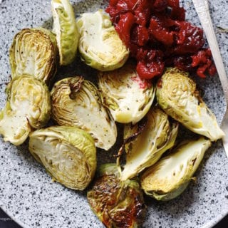 Roasted Brussels Sprouts w/ Orange Maple Glaze and Thyme Roasted Cranberries (oil- and salt-free)