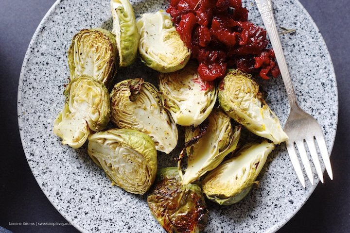 Roasted Brussels Sprouts w: Orange Maple Glaze and Thyme Roasted Cranberries