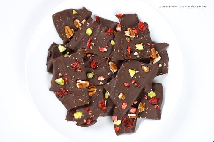 Easy Vegan Holiday Chocolate Bark