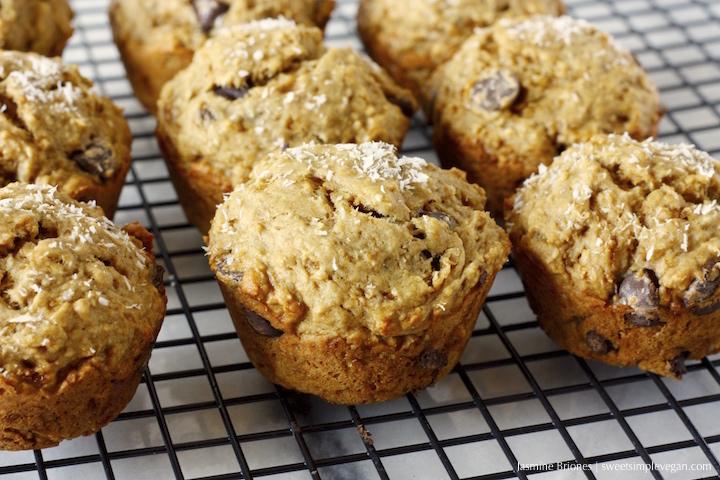 3Banana Coconut Dark Chocolate Chip Muffins