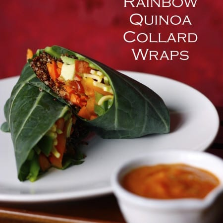 Rainbow Quinoa Collard Wraps w/ Ginger Persimmon Dressing (low-fat)