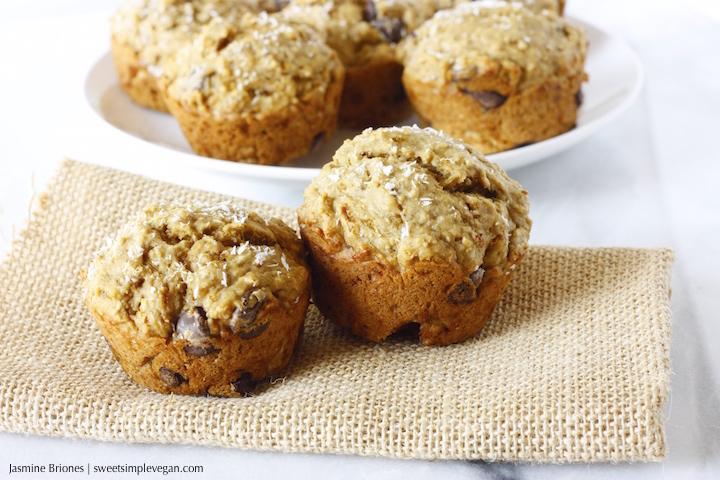 Banana Coconut Dark Chocolate Chip Muffins