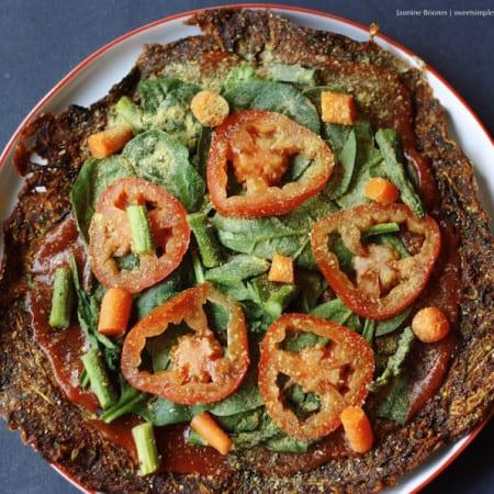 Low Fat Raw Vegan Zucchini Pizza Crust (hclf, nut- and gluten-free)