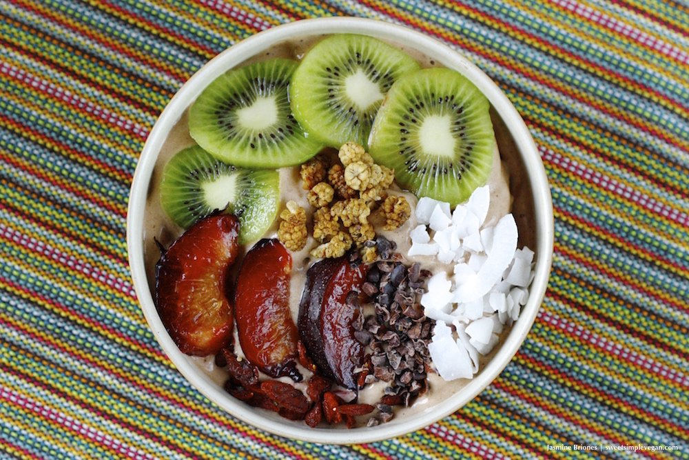 Cacao Banana Ice Cream Breakfast Bowl (raw, low-fat)