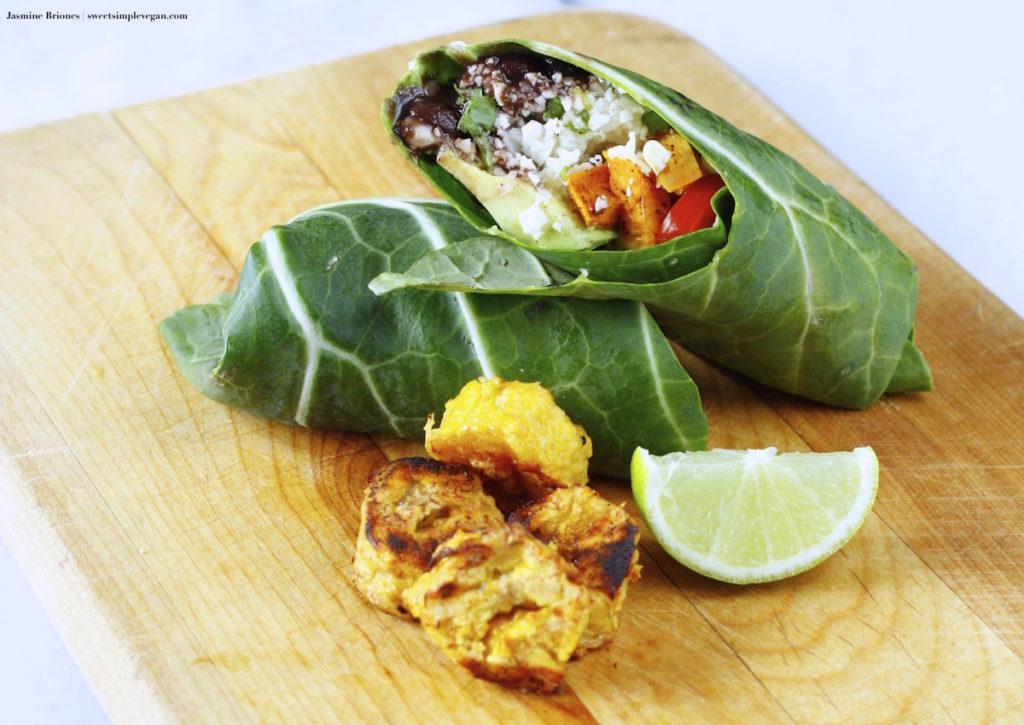 Collard Burritos w/ Chili Sweet Potatoes & Raw Cilantro Lime Cauliflower Rice + Baked Platanos Maduros (oil-free, low-fat)
