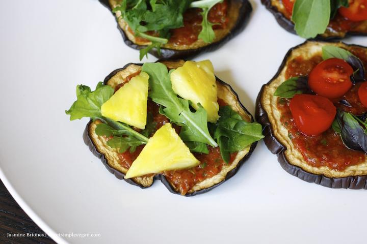 Eggplant Pizzas w/ Homemade Raw Marinara Sauce