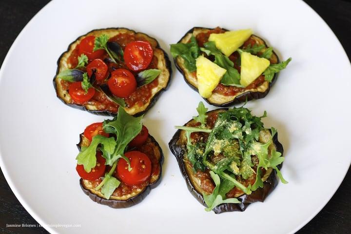 Eggplant Crust Pizzas w/ Homemade Raw Marinara Sauce