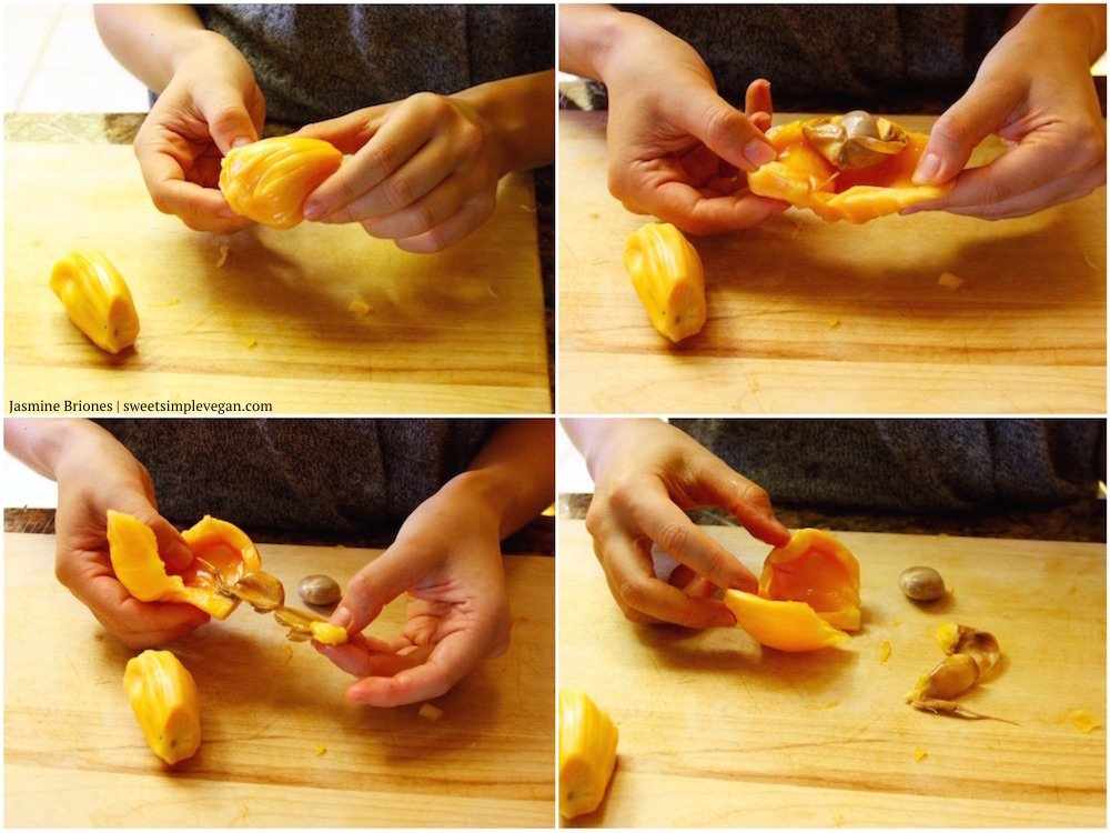Step-by-step of removing the seeds from jackfruit pods