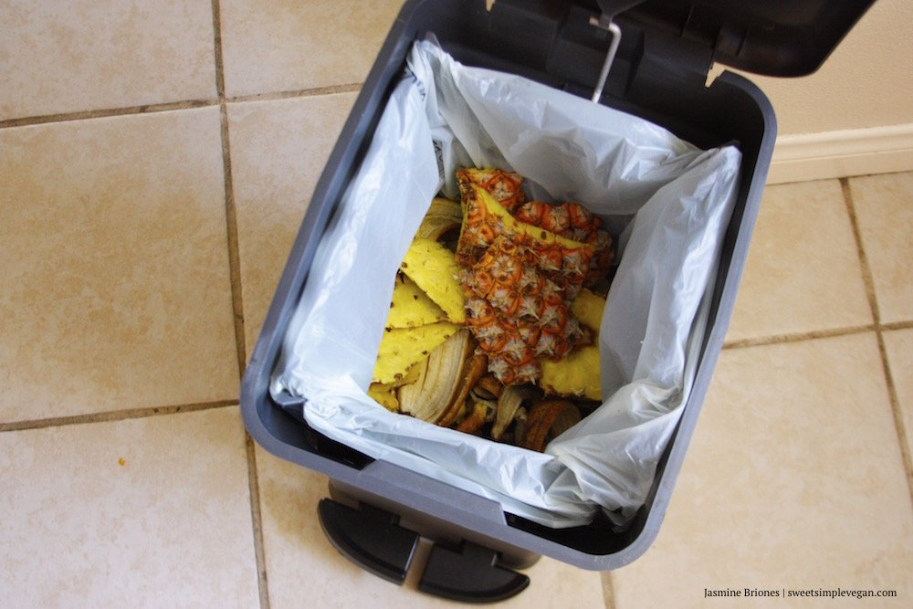 Open compost bin with fruit scraps inside.