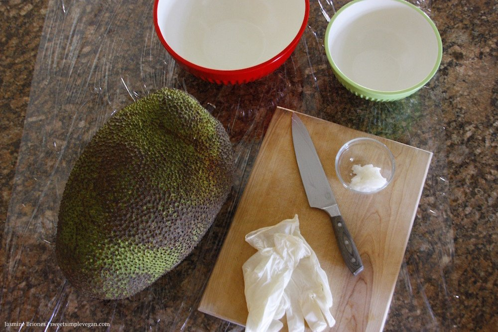 step up station to cut and prep jackfruit.