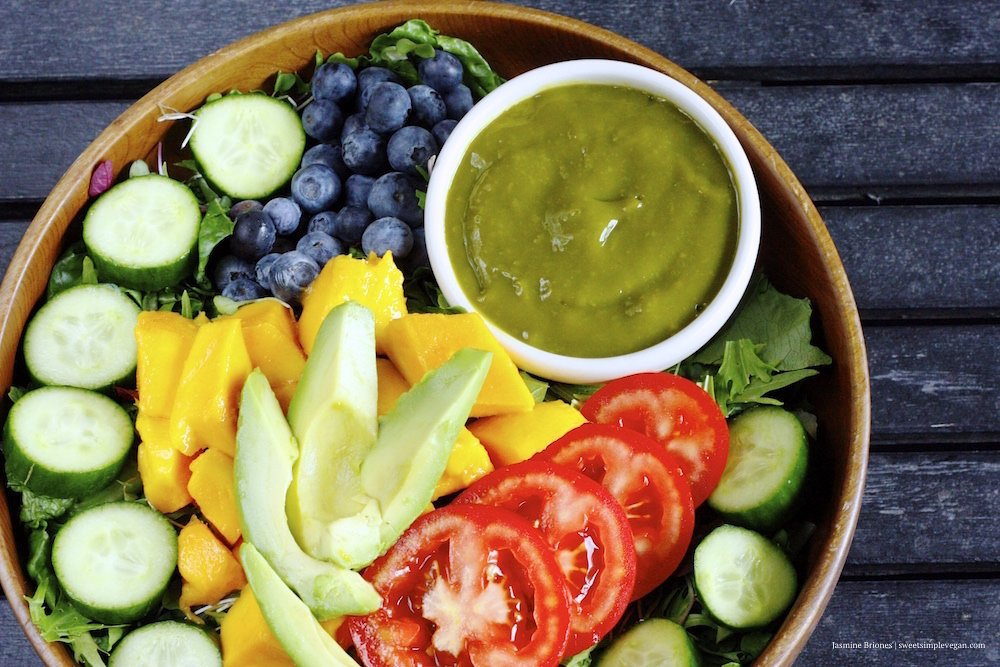 Rainbow Salad Mango Barley Dressing