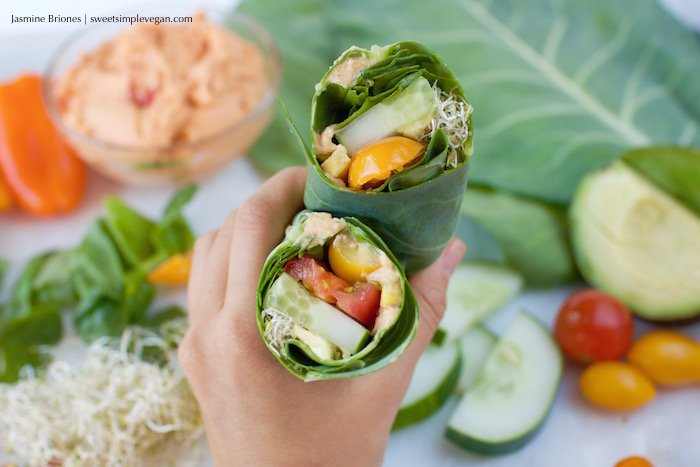 Oil-free Hummus Collard Green Veggie Wraps
