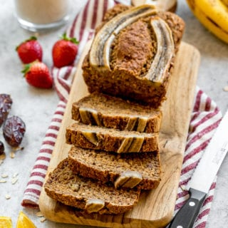 Vegan Date-Sweetened Banana Bread (gluten, oil- and refined sugar-free)