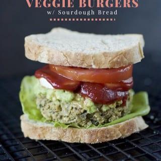 Herbed Millet Veggie Burgers w/ Sourdough Bread {gluten-free, oil-free}