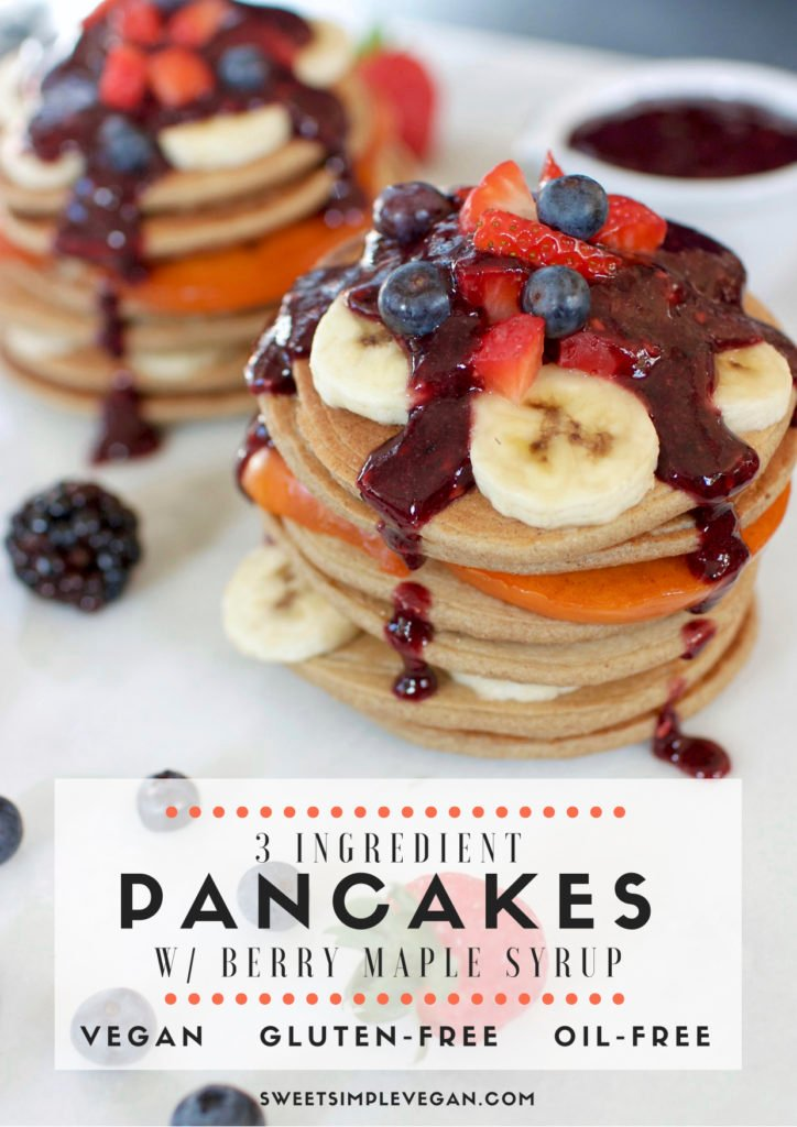 Healthy 3-Ingredient Vegan Pancakes {gluten- & oil-free}