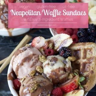 Vegan Neapolitan Waffle Sundaes w/ 3 Ingredient Waffles! {gluten & oil-free}