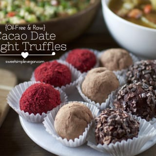 Raw Cacao 'Date Night' Truffles (2-Ingredients) – Vegan Valentine's Day Menu {oil-free}