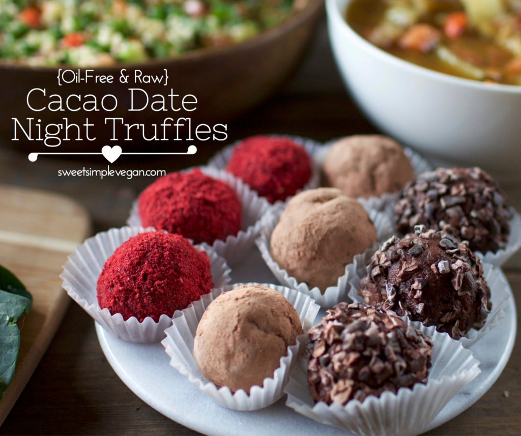 Raw Cacao Date Truffles - Vegan Valentine's Day {oil-free}